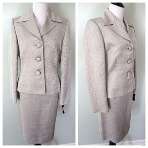TAHARI Silver Gold 3 Button Career Work Skirt Suit